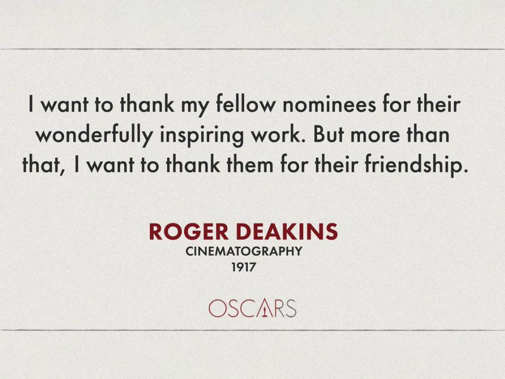 Oscars 2020: Στο 1917 και τον Roger Deakins το Oscar Φωτογραφίας, το Parasite έγραψε ιστορία!
